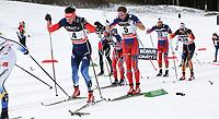 Langrenn<br /> FIS World Cup<br /> 10.01.2015<br /> Tour de Ski<br /> Cavalese Italia<br /> Foto: Gepa/Digitalsport<br /> NORWAY ONLY<br /> <br /> FIS World Cup, Tour de Ski, 15km mass start, men. Image shows Evgeniy Belov (RUS) and Niklas Dyrhaug (NOR).