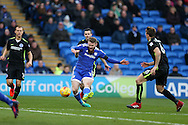 Aron Gunnarsson of Cardiff city © shoots wide of goal. EFL Skybet championship match, Cardiff city v Brighton & Hove Albion at the Cardiff city stadium in Cardiff, South Wales on Saturday 3rd December 2016.<br /> pic by Andrew Orchard, Andrew Orchard sports photography.