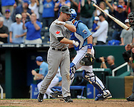 April 30, 2008:  Second basemen Aaron Hill #2 of the Toronto Blue Jays throws his bat after striking out to end the game against the Kansas City Royals at Kauffman Stadium in Kansas City, Missouri.  The Royals defeated the Blue Jays 8-6...