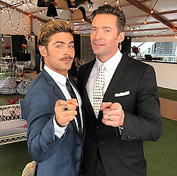 """Hugh Jackman releases a photo on Instagram with the following caption: """"Whose hair is higher?? #hair #height @zacefron"""". Photo Credit: Instagram *** No USA Distribution *** For Editorial Use Only *** Not to be Published in Books or Photo Books ***  Please note: Fees charged by the agency are for the agency's services only, and do not, nor are they intended to, convey to the user any ownership of Copyright or License in the material. The agency does not claim any ownership including but not limited to Copyright or License in the attached material. By publishing this material you expressly agree to indemnify and to hold the agency and its directors, shareholders and employees harmless from any loss, claims, damages, demands, expenses (including legal fees), or any causes of action or allegation against the agency arising out of or connected in any way with publication of the material."""