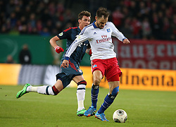 Football: Germany, DFB Cup<br /> Heiko Westermann (Hamburger SV, HSV) - Mario Mandzukic (FC Bayern Muenchen)