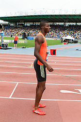 men's 200 meters, start, Curtis Mitchell, USA, prepares for race
