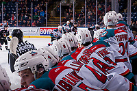 KELOWNA, CANADA - MARCH 7: The Kelowna Rockets bench keeps an eye on the play against the Vancouver Giants  on March 7, 2018 at Prospera Place in Kelowna, British Columbia, Canada.  (Photo by Marissa Baecker/Shoot the Breeze)  *** Local Caption ***
