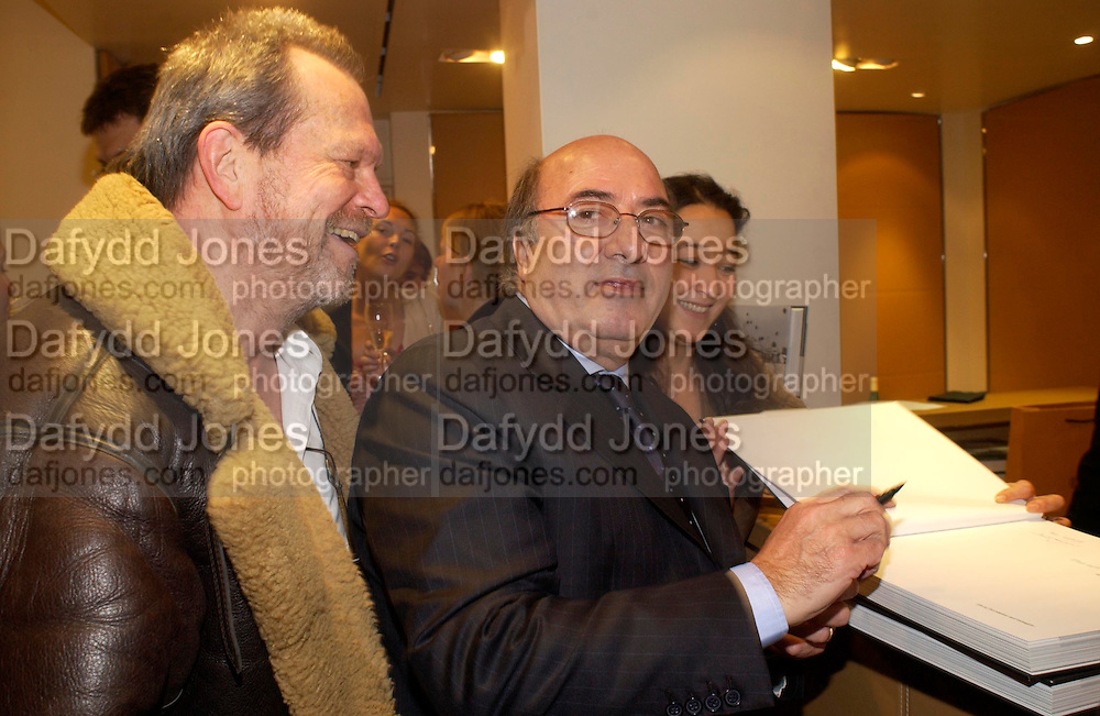 Terry Gillian and Dante Ferretti. Tod's hosts Book signing with Dante Ferretti celebrating the launch of 'Ferretti,- The art of production design' by Dante Ferretti. tod's, Old Bond St. 19 April 2005.  ONE TIME USE ONLY - DO NOT ARCHIVE  © Copyright Photograph by Dafydd Jones 66 Stockwell Park Rd. London SW9 0DA Tel 020 7733 0108 www.dafjones.com