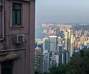 Overview of Hong Kong City from Old Peak Road, Hong Kong Island, China.