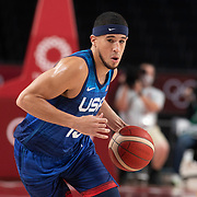TOKYO, JAPAN - JULY 25:   Devin Booker #15 of the United States in action during the USA V France basketball preliminary round match at the Saitama Super Arena at the Tokyo 2020 Summer Olympic Games on July 25, 2021 in Tokyo, Japan. (Photo by Tim Clayton/Corbis via Getty Images)