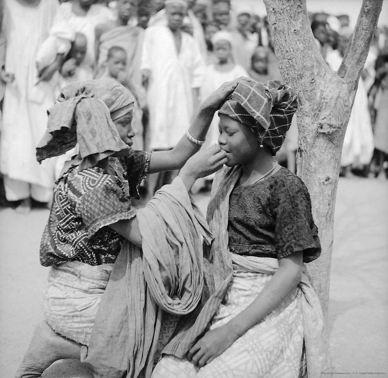 Young Girls Applying Makeup, Zaria, Nigeria, Africa, 1937