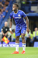 Chelsea striker Michy Batshuayi (23) showing teeth during the EFL Cup match between Chelsea and Bristol Rovers at Stamford Bridge, London, England on 23 August 2016. Photo by Matthew Redman.
