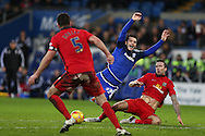 Tony Watt of Cardiff city © is fouled by Shane Duffy of Blackburn Rovers (r). Skybet football league championship match, Cardiff city v Blackburn Rovers at the Cardiff city stadium in Cardiff, South Wales on Saturday 2nd Jan 2016.<br /> pic by Andrew Orchard, Andrew Orchard sports photography.