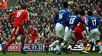 Photo: Paul Thomas.<br /> Liverpool v Everton. The Barclays Premiership. 03/02/2007.<br /> <br /> Steven Gerrard (2nd L) of Liverpool comes very very close to putting his side ahead from a penalty free kick.