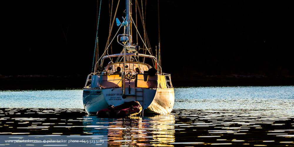 Moody Blue at anchor in Islington Bay, Auckland.