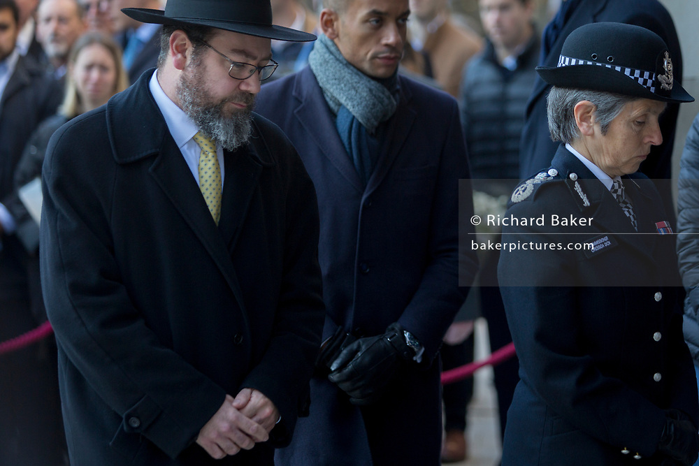 Three days after the killing of Jack Merritt, 25, and Saskia Jones, 23, by the convicted teorrorist Usman Khan at Fishmongers' Hall on London Bridge, the Met Police Commissioner Cressida Dick and a Rabbi leave the vigil at the Guildhall for friends and families of the victims and Prime Minister Boris Johnson, Leader of the Opposition Jeremy Corbyn and London Mayor Sadiq Khan plus City and police officials, in the City of London, on 2nd December 2019, in London, England.