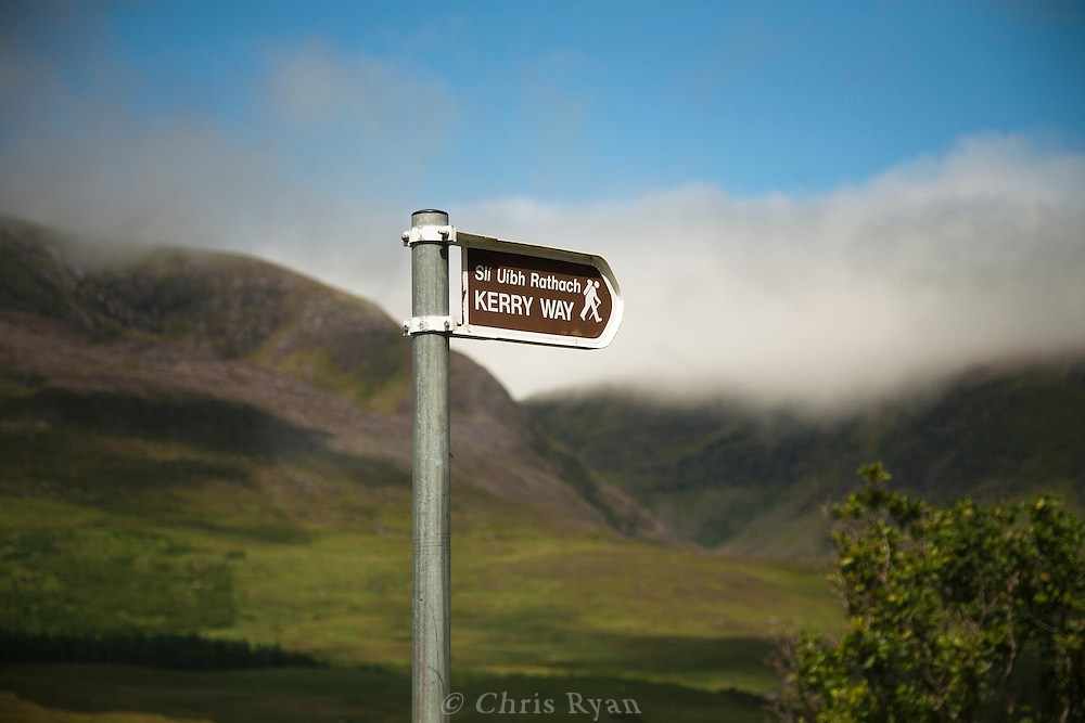 Sign for the Kerry Way hiking trail, County Kerry, Ireland