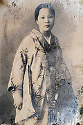 woman in traditional kimono clothing studio portrait ca 1930s Japan