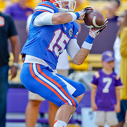 Oct 12, 2013; Baton Rouge, LA, USA; Florida Gators wide receiver Ryan Parrish (15) prior to a game against the LSU Tigers at Tiger Stadium. Mandatory Credit: Derick E. Hingle-USA TODAY Sports