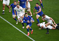 Rugby Union - 2020 Autumn Nations Cup - Final - England vs France - Twickenham<br /> <br /> France's Matthieu Jalibert evades the tackle of England's Jamie George and Owen Farrell.<br /> <br /> COLORSPORT/ASHLEY WESTERN