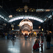 The James S. McDonnell Space Hangar at the Smithsonian Air and Space Museum. The decommissioned Space Shuttle Discovery is on permanent display in the James S. McDonnell Space Hangar at the Smithsonian's National Air and Space Museum's Udvar-Hazy Center in Chantilly, Virginia, just outside Washington DC. The shuttle arrived at the museum on April 19, 2012, and replaces the Space Shuttle Enterprise.