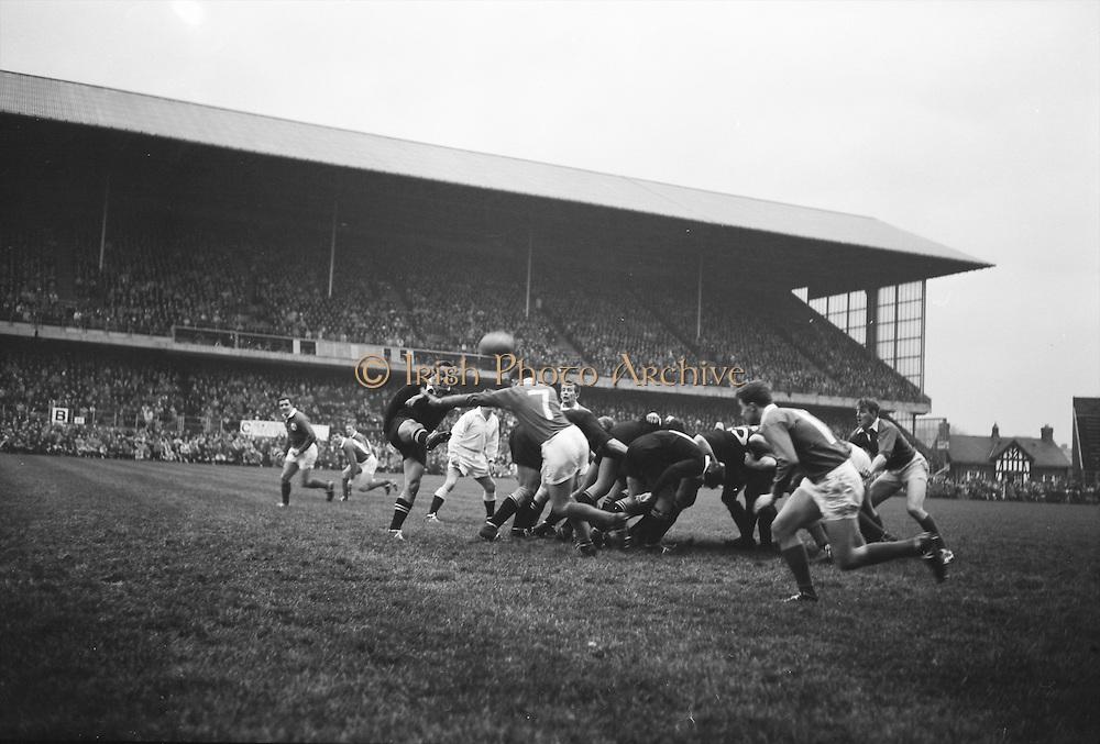 K C Briscoe kicks over the head of NA Murphy, number 7 of Ireland, into touch,..Irish Rugby Football Union, Ireland v New Zealand, Tour Match, Landsdowne Road, Dublin, Ireland, Saturday 7th December, 1963,.7.12.1963, 12.7.1963,..Referee- H Keenen, Rugby Football Union, ..Score- Ireland 5 - 6 New Zealand, ..Irish Team, ..T J Kiernan, Wearing number 15 Irish jersey, Full Back, Cork Constitution Rugby Football Club, Cork, Ireland,..J Fortune, Wearing number 14 Irish jersey, Right Wing, Clontarf Rugby Football Club, Dublin, Ireland,..P J Casey, Wearing number 13 Irish jersey, Right Centre, University College Dublin Rugby Football Club, Dublin, Ireland, ..J C Walsh,  Wearing number 12 Irish jersey, Left Centre, University college Cork Football Club, Cork, Ireland,..A T A Duggan, Wearing number 11 Irish jersey, Left Wing, Landsdowne Rugby Football Club, Dublin, Ireland,..M A English, Wearing number 10 Irish jersey, Stand Off, Landsdowne Rugby Football Club, Dublin, Ireland, ..J C Kelly, Wearing number 9 Irish jersey, Captain of the Irish team, Scrum Half, University College Dublin Rugby Football Club, Dublin, Ireland,..P J Dwyer, Wearing number 1 Irish jersey, Forward, University College Dublin Rugby Football Club, Dublin, Ireland, ..A R Dawson, Wearing number 2 Irish jersey, Forward, Wanderers Rugby Football Club, Dublin, Ireland, ..R J McLoughlin, Wearing number 3 Irish jersey, Forward, Gosforth Rugby Football Club, Newcastle, England, ..W J McBride, Wearing number 4 Irish jersey, Forward, Ballymena Rugby Football Club, Antrim, Northern Ireland,..W A Mulcahy, Wearing number 5 Irish jersey, Forward, Bective Rangers Rugby Football Club, Dublin, Ireland,  ..E P McGuire, Wearing number 6 Irish jersey, Forward, University college Galway Football Club, Galway, Ireland,  ..P J A O' Sullivan, Wearing  Number 8 Irish jersey, Forward, Galwegians Rugby Football Club, Galway, Ireland,..N A Murphy, Wearing number 7 Irish jersey, Forward, Cork Constitution Rugby Football Club, Cork,
