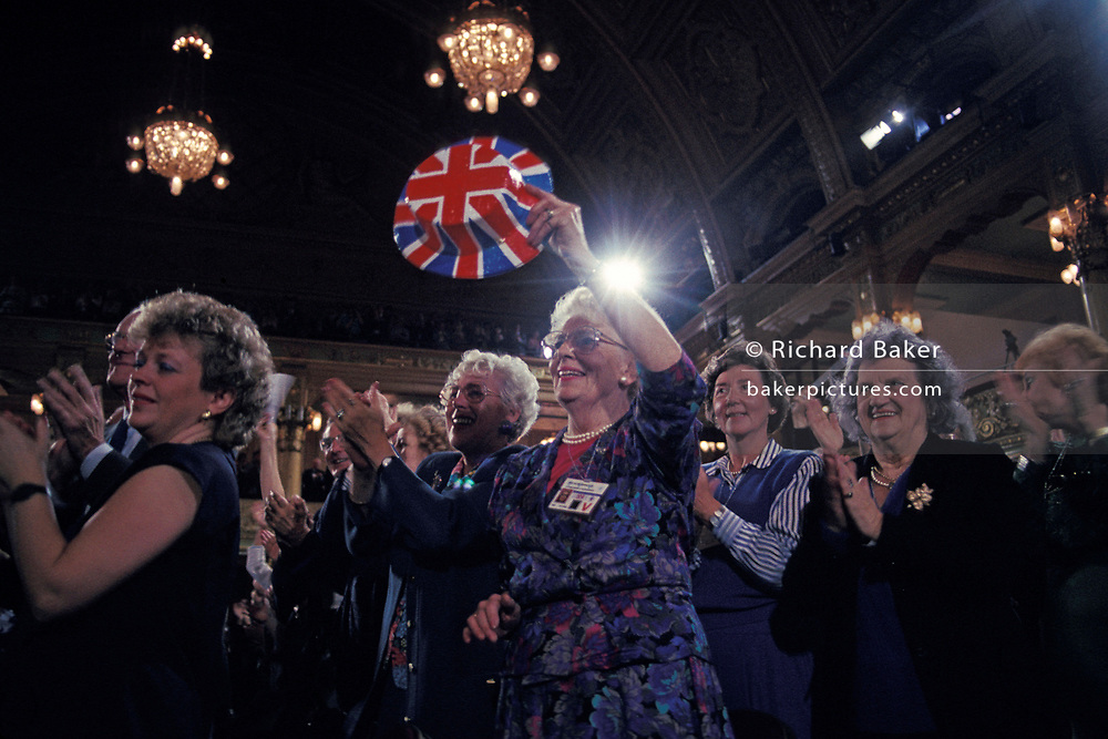 Conservative Party delegates rally before Prime Minister Margaret Thatcher's closong speech at the 1989 Conservative Party Conference, on 13th October 1989, in Blackpool, England. Prime Minister of the day, John Major went on to win the election weeks later and was the fourth consecutive victory for the Tory Party although it was its last outright win until 2015 after Labour's 1997 win for Tony Blair.