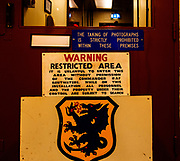Warning restricted area photography prohibited signs,  inside Bentwaters Cold War museum, Suffolk, England, UK