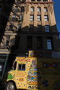 Old apartment building built in stone, in Manhattan, New York City.