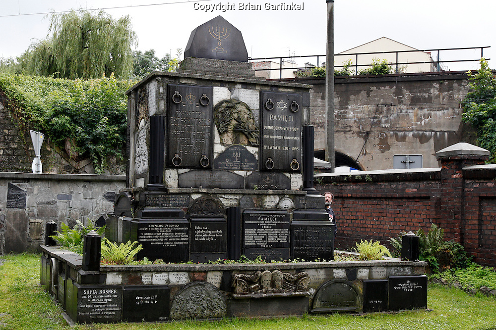 """A memorial is made with old grave stones in the """"New"""" Jewish cemetery in Krakow, Poland on Monday July 4th 2011.  (Photo by Brian Garfinkel)"""