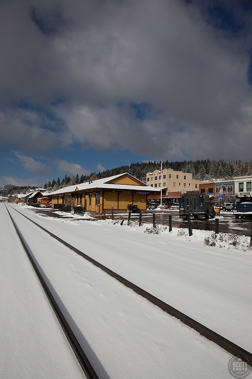 """""""Snowy Truckee Train Tracks"""" - These snow covered train tracks were photographed in beautiful downtown Truckee, CA."""