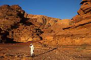 "Wadi Rum, where the spectacular desert scenes of David Lean's epic film ""Lawrence of Arabia"" were filmed, southern Jordan"
