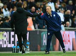 Cardiff City manager Neil Warnock shakes hands with Tottenham Hotspur manager Mauricio Pochettino at full time. - Mandatory by-line: Alex James/JMP - 06/10/2018 - FOOTBALL - Wembley Stadium - London, England - Tottenham Hotspur v Cardiff City - Premier League