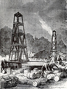 Oil wells at Oil Creek, 150 miles up the Allegheny River from Pittsburgh, Pennsylvania, USA.    Engraving from 'Les Merveilles de la Science' by Louis Figuier (Paris, c1870).