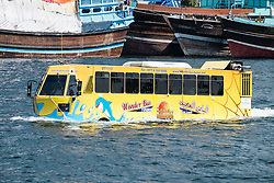 Wonder Bus amphibious tour bus on the Creek river in Dubai United Arab Emirates UAE