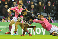Junior Rasolea had a great game for Edinburgh during the European Rugby Challenge Cup match between Edinburgh Rugby and Stade Francais at Murrayfield Stadium, Edinburgh, Scotland on 12 January 2018. Photo by Kevin Murray.