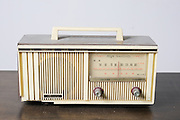 Cutout of a retro Mercury transistor radio receiver on white background