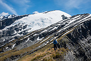 See Reid Glacier on Plunket Dome (2191m) from Cascade Saddle in Mount Aspiring National Park, Otago region, South Island of New Zealand. Cascade Saddle is a spectacular 20-kilometer side trip from Dart Hut on the Rees-Dart Track.