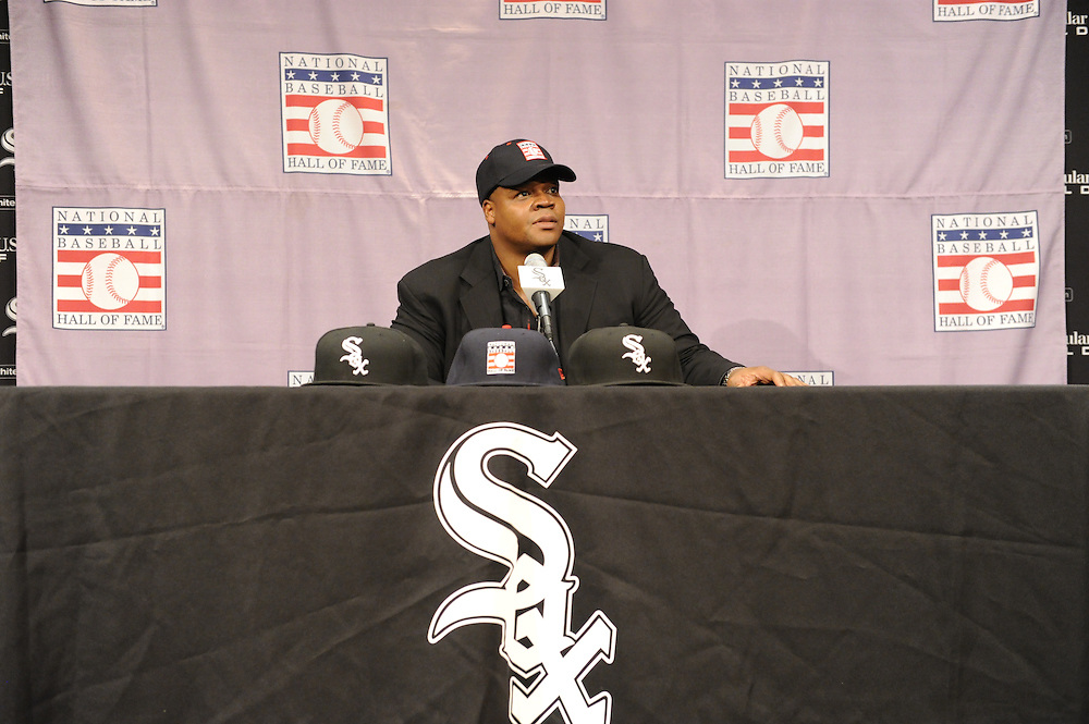 CHICAGO - JANUARY 08:  Frank Thomas #35 of the Chicago White Sox addresses the media after being voted into the Major League Baseball Hall of Fame January 8, 2014 at U.S. Cellular Field in Chicago, Illinois.  (Photo by Ron Vesely)