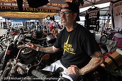 Hooligan racer Scott Jones at the RSD Moto Beach Classic. Huntington Beach, CA, USA. Saturday October 27, 2018. Photography ©2018 Michael Lichter.