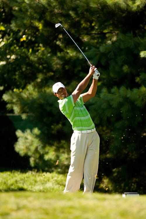 NEWTOWN SQUARE, PA - JULY 2: Tiger Woods plays a shot during the second round of the AT&T National Classic at Aronimink Golf Club on July 2, 2010 in Newtown Square, Pennsylvania. (Photo by Darren Carroll) *** Local Caption *** Tiger Woods