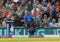 Cricket - 2017 West Indies Tour of England - Fourth One Day International (ODI): England vs. West Indies<br /> <br /> The fans joke with England's Adil Rashid as they give him the ball back,after failing to stop it crossing the line for a four at The Oval.<br /> <br /> COLORSPORT/ANDREW COWIE