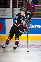 KELOWNA, CANADA - NOVEMBER 9: Conner Bleackley #9 of Team WHL warms up with the puck against the Team Russia on November 9, 2015 during game 1 of the Canada Russia Super Series at Prospera Place in Kelowna, British Columbia, Canada.  (Photo by Marissa Baecker/Western Hockey League)  *** Local Caption *** Conner Bleackley;