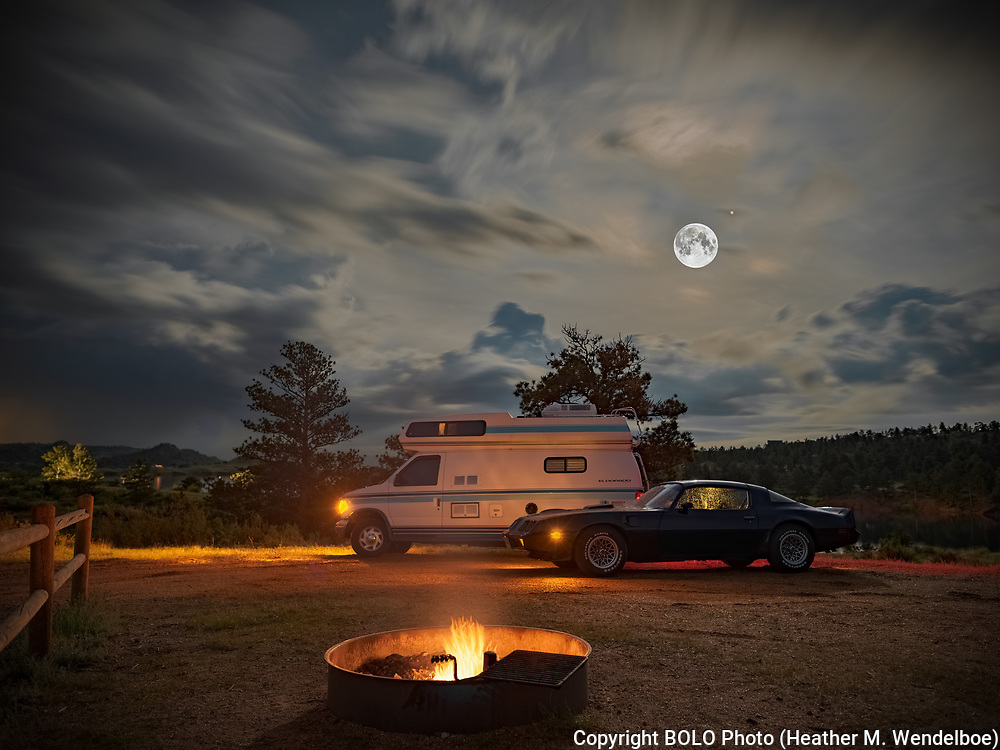 BOLO Photo<br /> Wild West Automotive Photography<br /> Bigfoot and Bandit Camping in the Rain<br /> 2019 Full Moon and Jupiter<br /> June 16, 2019<br /> Happy Jack Campground in Curt Gowdy State Park, Wyoming<br /> (1996 Ford E250 El Dorado: Rick Cunningham) <br /> (1979 Pontiac Trans Am: Heather Wendelboe)