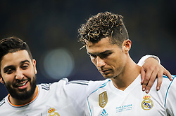 Cristiano Ronaldo of Real Madrid (R) as Real Madrid players celebrate winning the UEFA Champions League final football match between Liverpool and Real Madrid at the Olympic Stadium in Kiev, Ukraine on May 26, 2018. - Real Madrid defeated Liverpool 3-1. Photo by Andriy Yurchak / Sportida