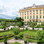 Panoramic shot of the Privy Garden at Schonbrunn in Vienna, Austria