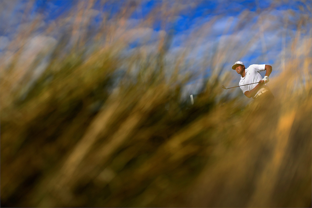 Tony Finau watches his tee shot on the ninth hole during the first round of The Barclays Championship held at Plainfield Country Club in Edison on August 27, 2015.