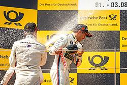 03.08.2014, Red Bull Ring, Spielberg, AUT, DTM Red Bull Ring, Renntag, im Bild Marco Wittman, (GER, 1. Platz, Rennen, Ice-Watch BMW M4 DTM), Timo Glock, (GER, 3. Platz, Rennen, Deutsche Post BMW M4 DTM), Augusto Farfus, (BRA, 2. Platz, Rennen, Castrol EDGE BMW M4 DTM) // during the DTM Championships 2014 at the Red Bull Ring in Spielberg, Austria, 2014/08/03, EXPA Pictures © 2014, PhotoCredit: EXPA/ M.Kuhnke