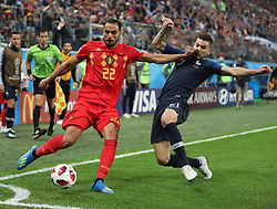 SAINT PETERSBURG, July 10, 2018  Lucas Hernandez (R) of France vies with Nacer Chadli of Belgium during the 2018 FIFA World Cup semi-final match between France and Belgium in Saint Petersburg, Russia, July 10, 2018. (Credit Image: © Fei Maohua/Xinhua via ZUMA Wire)