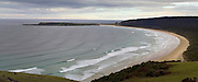 View over Tautuku Bay, The Catlins, Otago, New Zealand, on an overcast day.