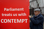 As Prime Minister Theresa May petitions European leaders in Brussels, this time to persuade the European Council to accept a delay of the UKs Brexit Article 50, Brexiteers protest outside parliament in Westminster, on 21st March 2019, in London, England.