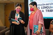 13 agosto 2021, Ciudad de México. La secretaria de Cultura, Alejandra Frausto con la diputada presidenta de la Mesa Directiva de la Cámara de Diputados, Dulce María Sauri Riancho durante la presentación del libro Las lenguas toman la tribuna.