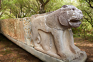 Pictures & images of the North Gate Hittite sculpture stele depicting Hittite a lion and stele of Hittite gogs. 8th century BC. Karatepe Aslantas Open-Air Museum (Karatepe-Aslantaş Açık Hava Müzesi), Osmaniye Province, Turkey.