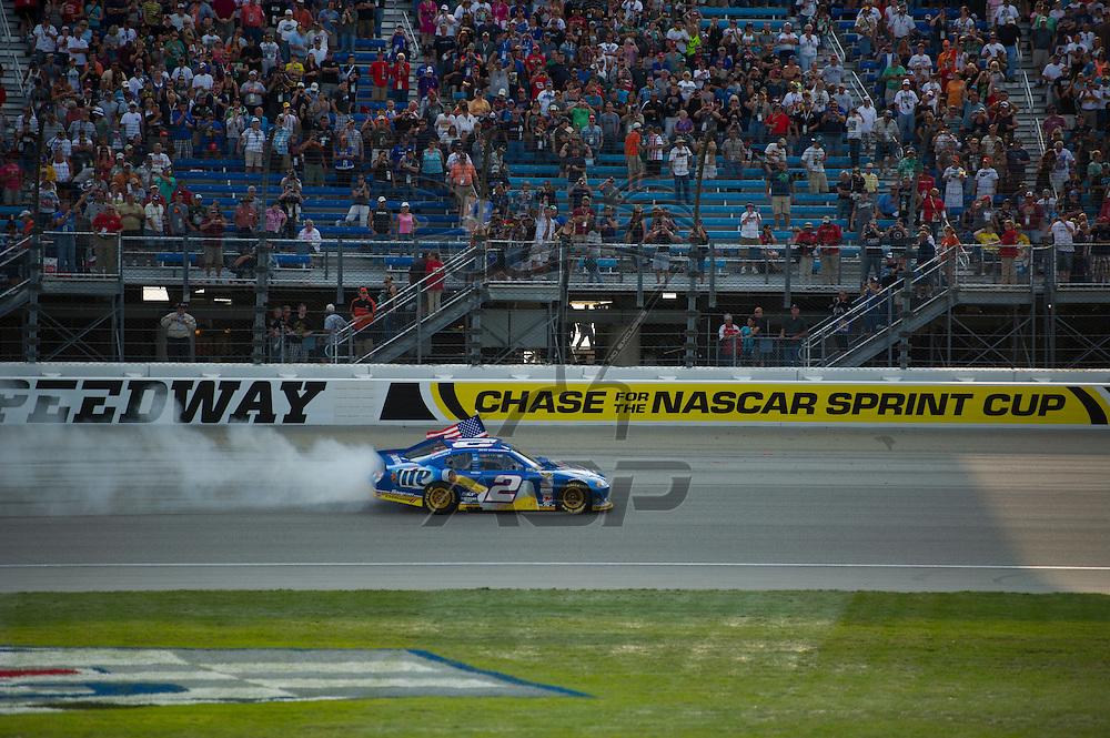 Joliet, IL - SEP 16, 2012:  Brad Keselowski (2) wins the GEICO 400 at Chicagoland Speedway in Joliet, IL.
